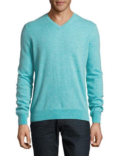 Black Brown 1826 Cashmere V-Neck Sweater-AQUA-XX-Large