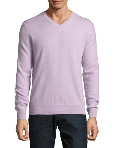 Black Brown 1826 Cashmere V-Neck Sweater-PURPLE-XXX-Large