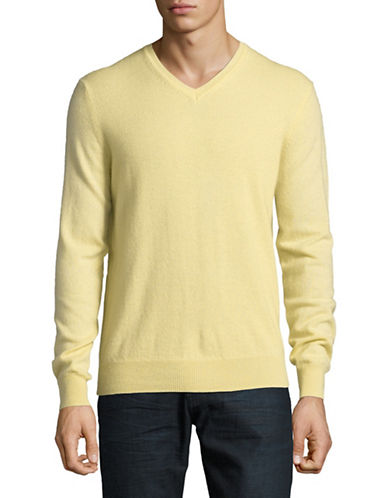 Black Brown 1826 Cashmere V-Neck Sweater-YELLOW-Small