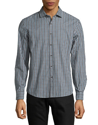 Black Brown 1826 Yarn-Dye Gingham Sport Shirt-DARK TEAL-XX-Large