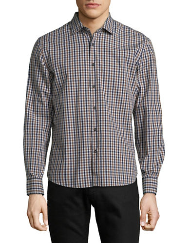 Black Brown 1826 Yarn-Dye Gingham Sport Shirt-DARK BROWN-Small