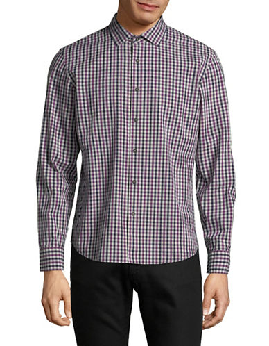 Black Brown 1826 Yarn-Dye Gingham Sport Shirt-DARK PURPLE-Large