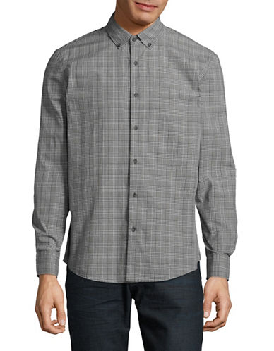 Black Brown 1826 Plaid Cotton Sport Shirt-DARK GREY-Small