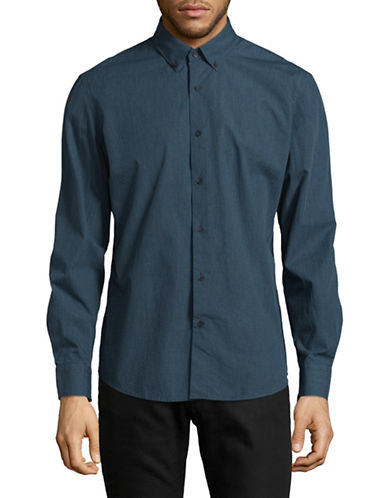 Black Brown 1826 Plaid Cotton Sport Shirt-TEAL-X-Large