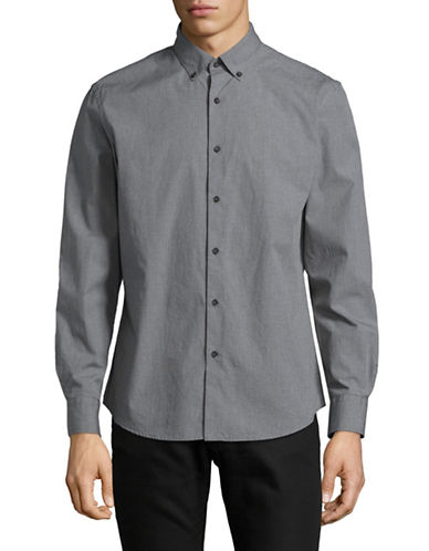 Black Brown 1826 Plaid Cotton Sport Shirt-GREY-Medium