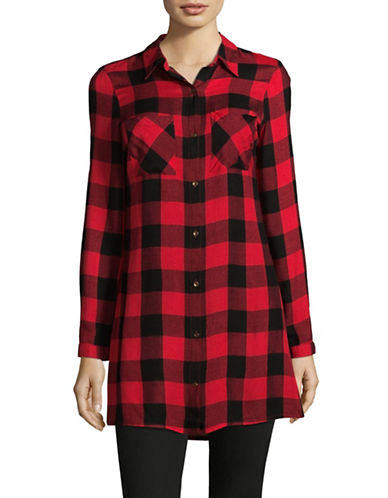 Manguun Checked Cotton Sport Shirt-RED-36