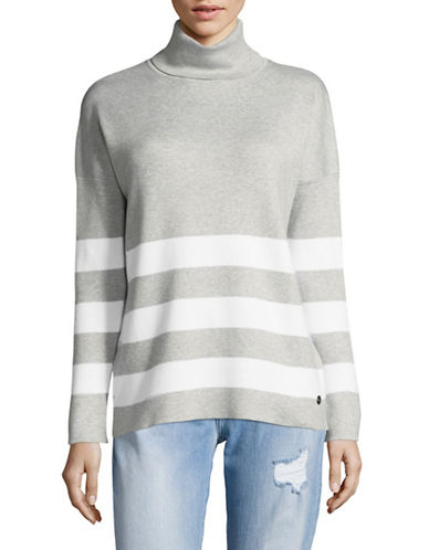 Manguun Stripe Turtleneck Sweater-GREY-Small