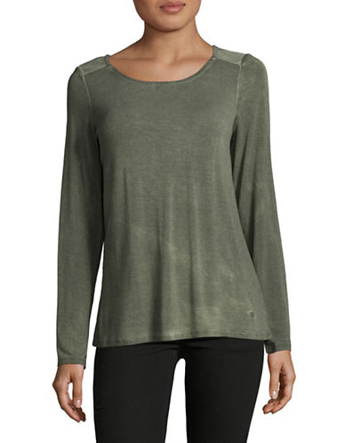 Manguun Sequined Long-Sleeved Top-GREEN-Small