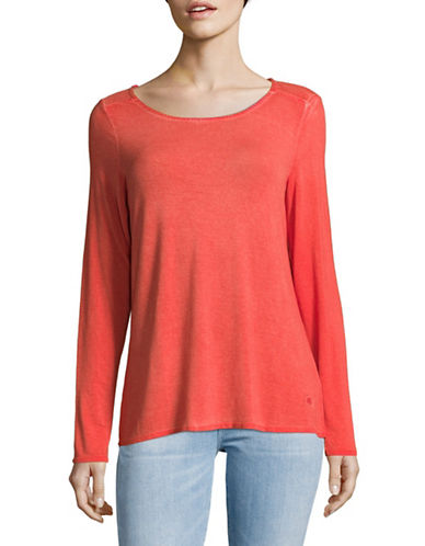 Manguun Sequined Long-Sleeved Top-ORANGE-Medium