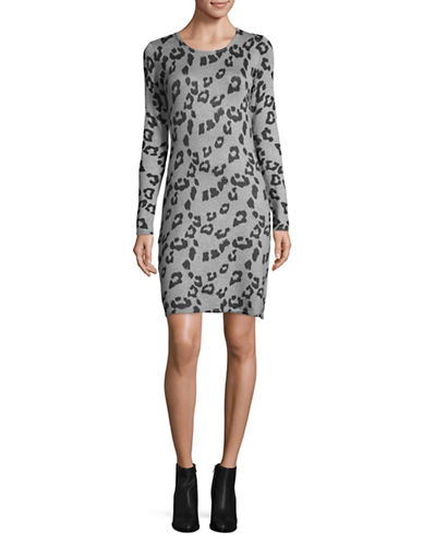 Manguun Animal Print Sheath Dress-GREY-Medium