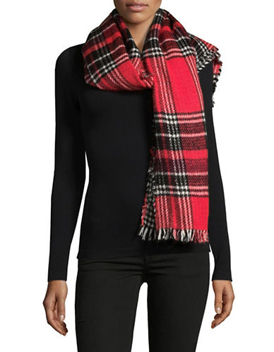 Manguun Gingham Oblong Scarf-RED-One Size