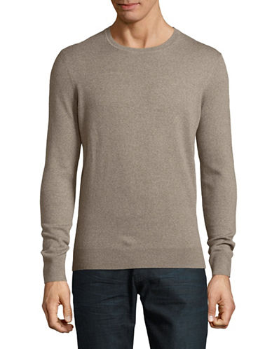 Black Brown 1826 Crew Neck Merino Wool Sweater-LIGHT COFFEE-XX-Large