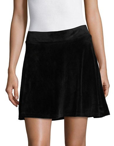 Manguun Velvet A-Line Skirt-BLACK-Medium