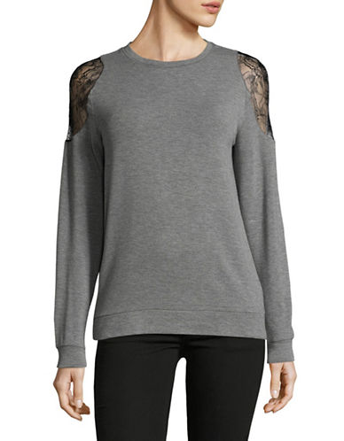 Lord & Taylor Lace Inset Sweater-DARK GREY-Large