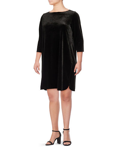 Lord & Taylor Plus Velvet Shift Dress-BLACK-3X