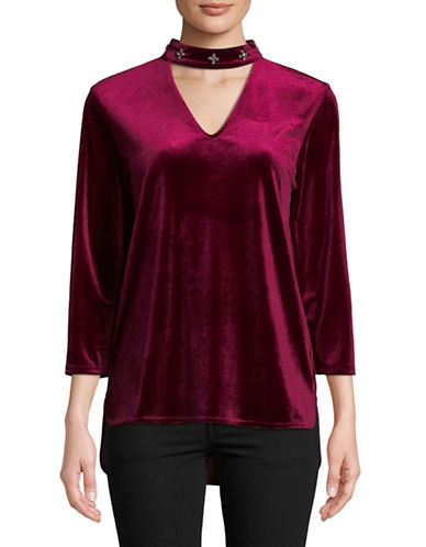 Lord & Taylor Begonia Velvet Choker Top-BEGONIA-Medium