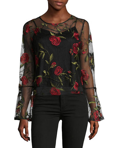 Lord & Taylor Chelsea Floral Lace Top-BLACK-Large 89504039_BLACK_Large