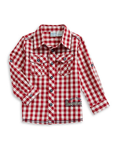 Bob Der Bar Checkered Snow Team Cotton Sport Shirt-RED-4
