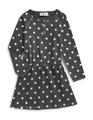 Bob Der Bar Polka Dot Fit-and-Flare Dress-GREY-5-6