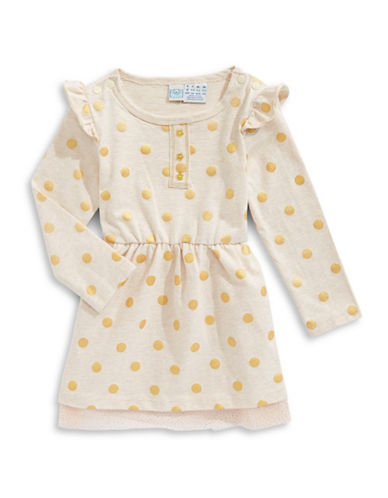 Bob Der Bar Long Sleeve Polka Dot Dress-BEIGE-6-9 Months
