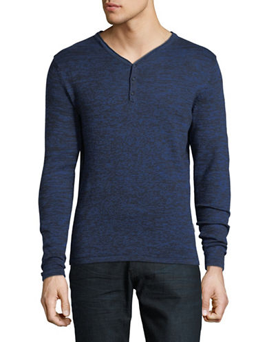 Manguun V-Neck Cotton Sweater-ECLIPSE BLUE-Small