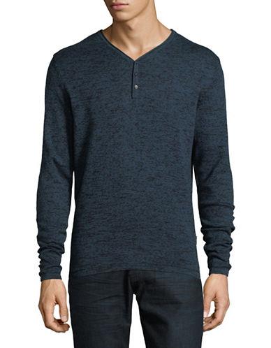 Manguun V-Neck Cotton Sweater-BLUE-X-Large