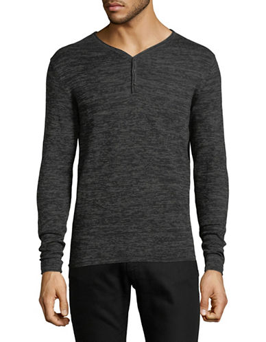 Manguun V-Neck Cotton Sweater-GREY-Medium