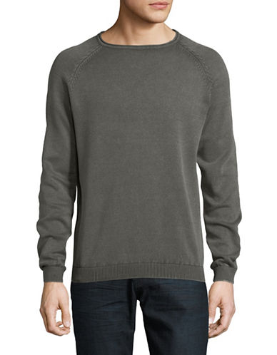 Manguun Crew Neck Cotton Sweater-CHARCOAL-X-Large