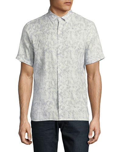 Black Brown 1826 Printed Linen Sport Shirt-LIGHT BLUE-Medium