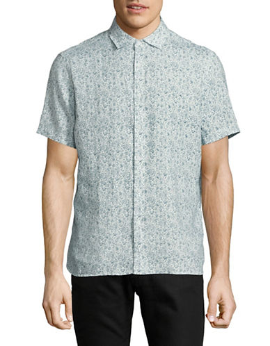 Black Brown 1826 Printed Linen Sport Shirt-SEA GREEN-X-Large