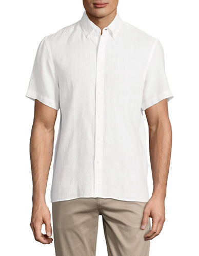 Black Brown 1826 Short-Sleeve Linen Sport Shirt-WHITE-X-Large