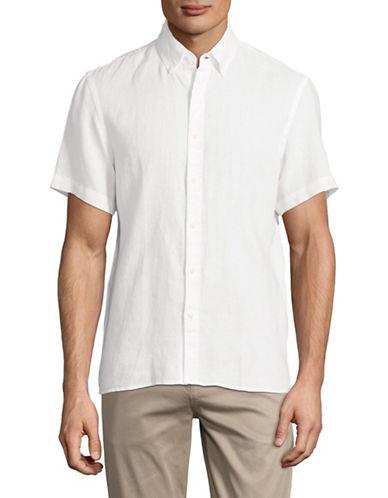 Black Brown 1826 Short-Sleeve Linen Sport Shirt-WHITE-Large