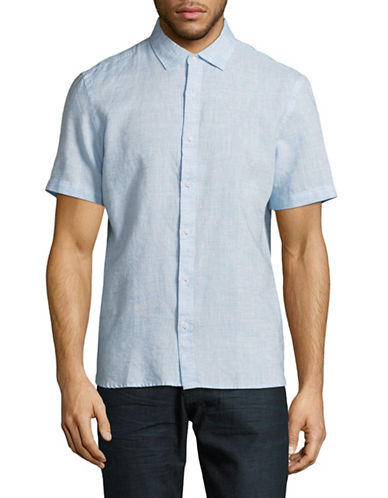 Black Brown 1826 Short-Sleeve Linen-Blend Sport Shirt-BLUE-Small