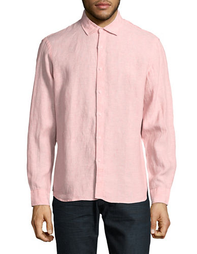 Black Brown 1826 Cutaway Collar Linen Sport Shirt-PINK-Small