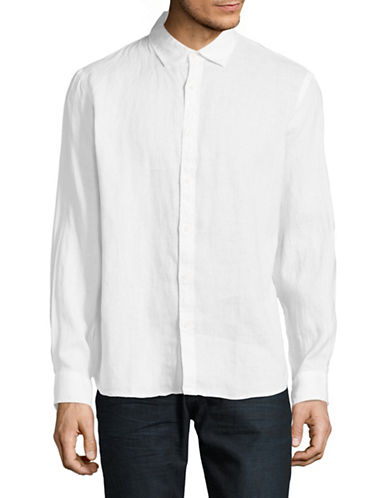 Black Brown 1826 Cutaway Collar Linen Sport Shirt-WHITE-Large