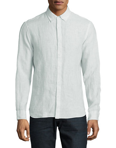 Black Brown 1826 Pinstripe Linen Sport Shirt-SPEARMINT-XX-Large