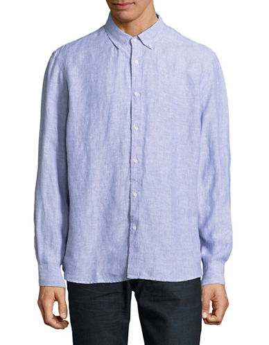 Black Brown 1826 Long-Sleeve Linen Sport Shirt-BLUE-XX-Large
