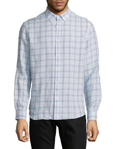 Black Brown 1826 Checkered Linen Sport Shirt-CLOUD BLUE-Small