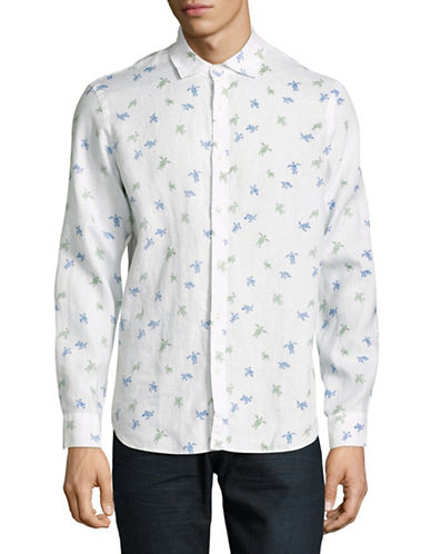 Black Brown 1826 Turtle-Print Linen Sport Shirt-COASTAL BLUE-Small
