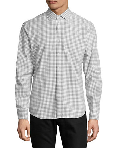 Black Brown 1826 Gingham Printed Dress Shirt-GREY-Medium