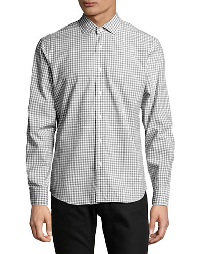 Black Brown 1826 Gingham Printed Dress Shirt-BLACK-Small