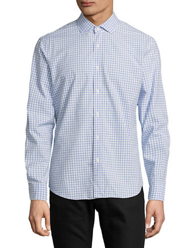 Black Brown 1826 Gingham Printed Dress Shirt-PALE BLUE-Small