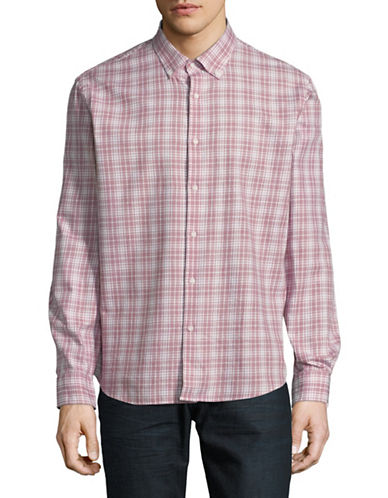 Black Brown 1826 Gingham Printed Dress Shirt-RED-X-Large