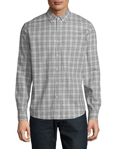 Black Brown 1826 Gingham Printed Dress Shirt-GULL GREY-Large