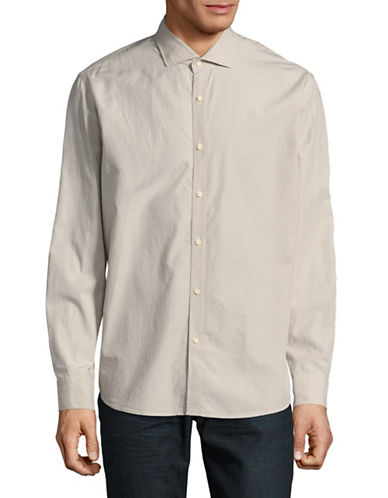 Black Brown 1826 Solid Dress Shirt-OFF WHITE-Large