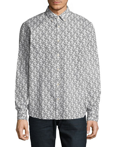 Black Brown 1826 Printed Dress Shirt-GREY-Medium