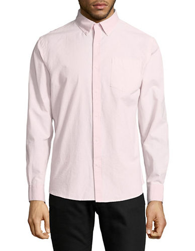 Black Brown 1826 Long-Sleeve Oxford Cotton Sport Shirt-PINK-Small