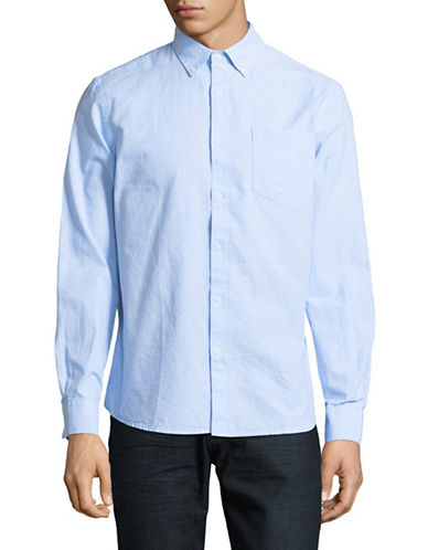 Black Brown 1826 Long-Sleeve Oxford Cotton Sport Shirt-SKY BLUE-Small