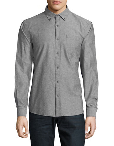 Black Brown 1826 Long-Sleeve Oxford Cotton Sport Shirt-BLACK-X-Large