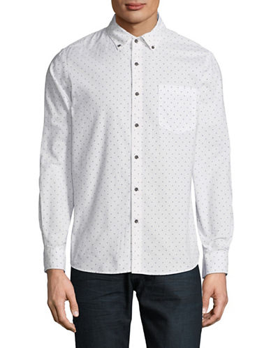 Black Brown 1826 Long-Sleeve Oxford Cotton Sport Shirt-WHITE-X-Large
